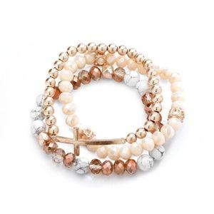 Jewelry - Rose Gold Druzy Howlite Stone Cross Bracelet